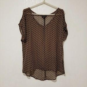 WOMEN black sheer v neck blouse top